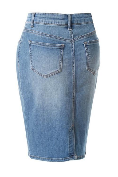 Basic Denim Skirt Light Wash