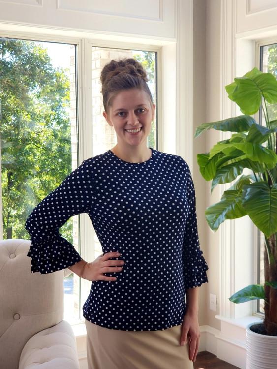 Andrea Ruffle Layering Shirt Navy Dot