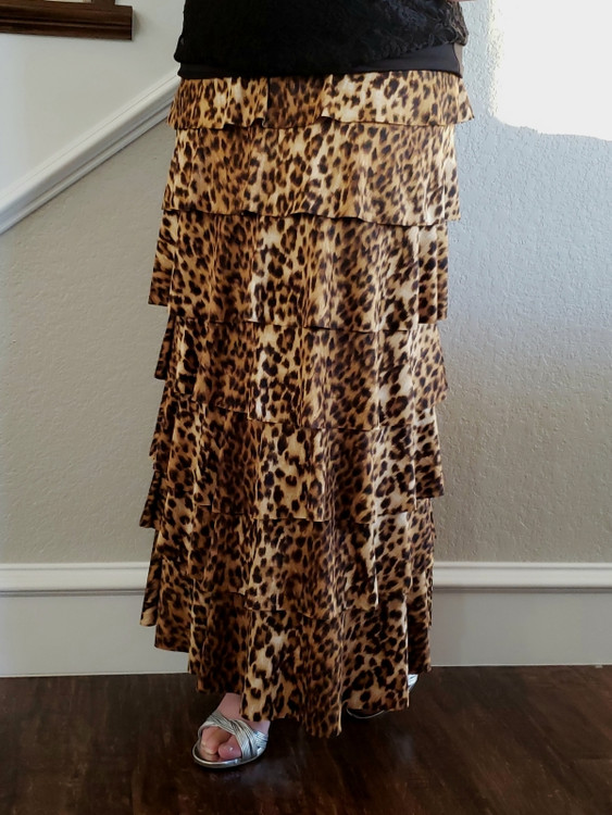 7 Layer Ruffle Maxi Skirt Leopard
