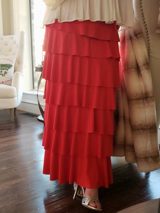 7 Layer Ruffle Maxi Skirt Red