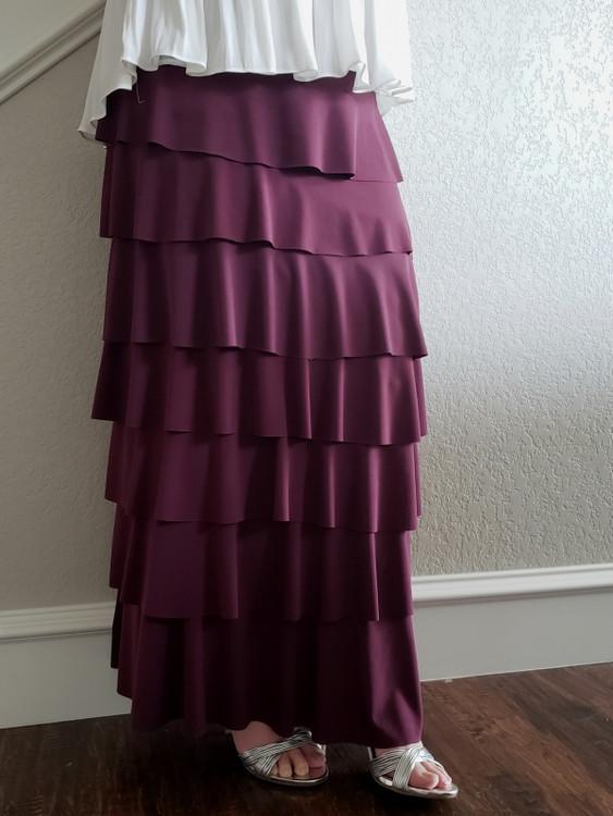 Ruffle Tiered Maxi Skirt Plum