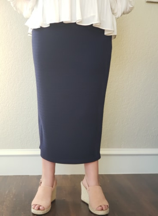 Klassy Girl Longer Length Pencil Skirt Navy (Ribbed Knit)