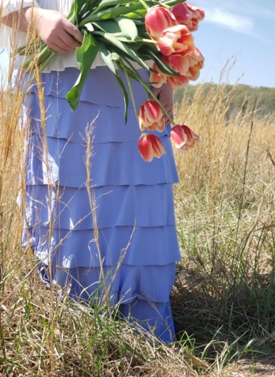 7 Layer Ruffle Maxi Skirt Sky Blue