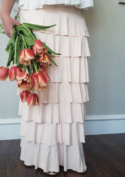 7 Layer Ruffle Maxi Skirt Blush