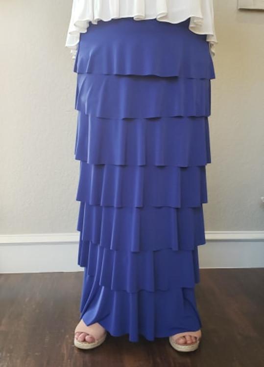 7 Layer Ruffle Maxi Skirt Sapphire