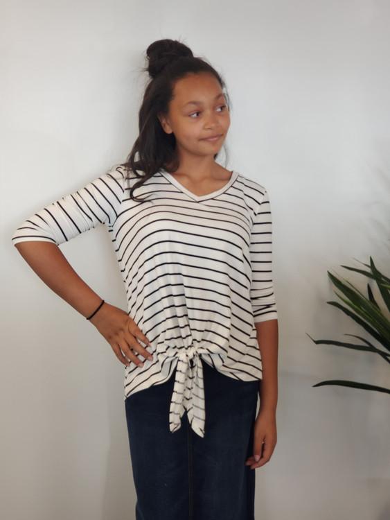Knotted Stripes Top Black Stripe