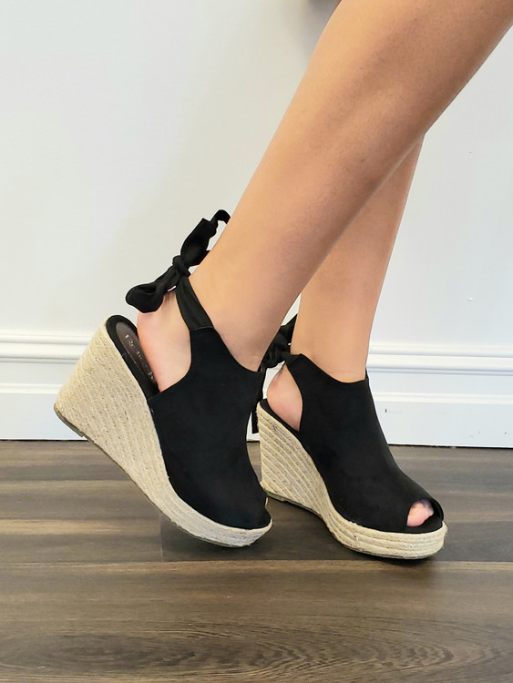 Tie Back Wedges in Black *Out Of Box Final Sale*