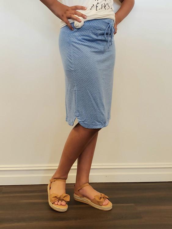 Traveling Skirt in Blue Dot *Final Sale*