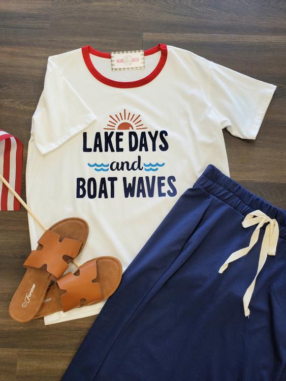 Lake Days Boat Waves Tee