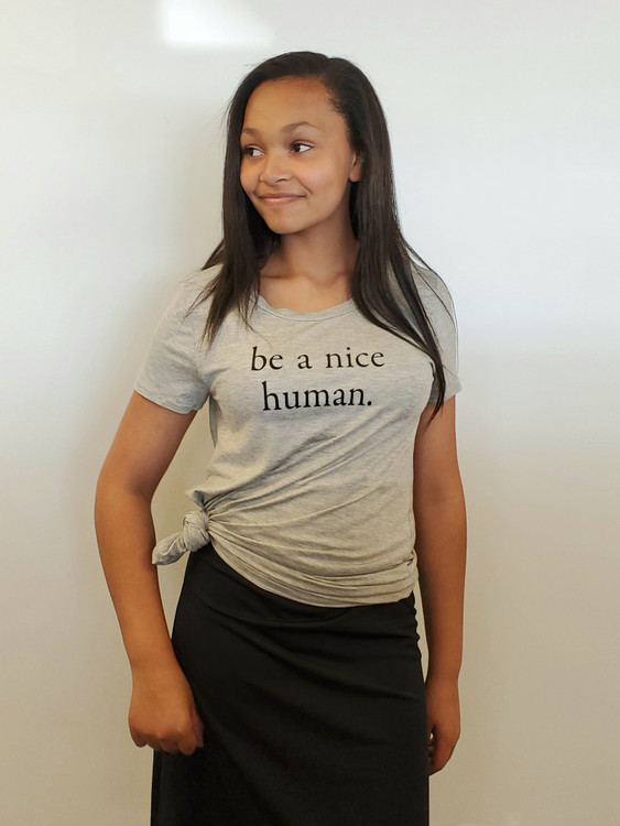 Be A Nice Human Tee Grey