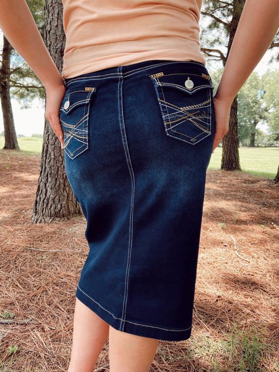 Sidney Decorative Pocket Denim Skirt *Dark Wash*