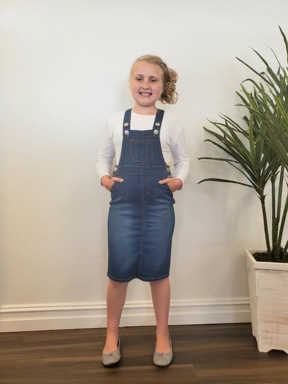 Lena Overall Jumper Dress Indigo Wash Kids