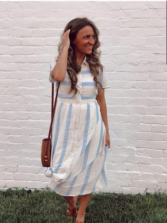 My Little Vintage Stripe Dress in Blue *Final Sale*