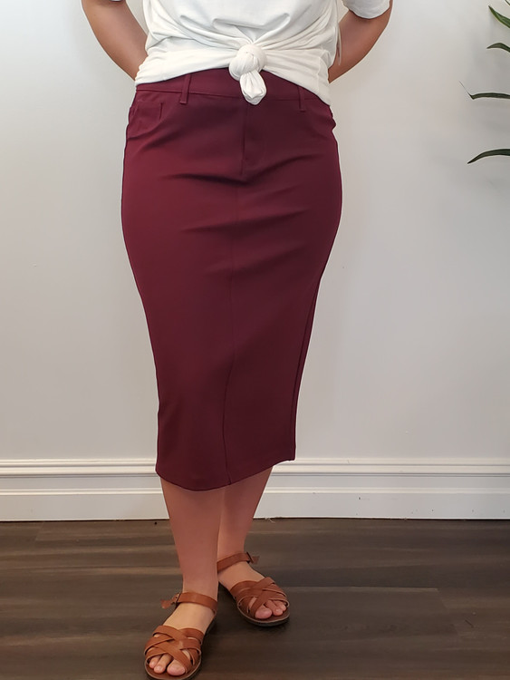 Double Knit Skirt in Burgundy