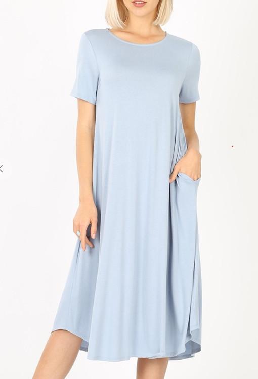 Summer Special T Shirt Dress Ash Blue