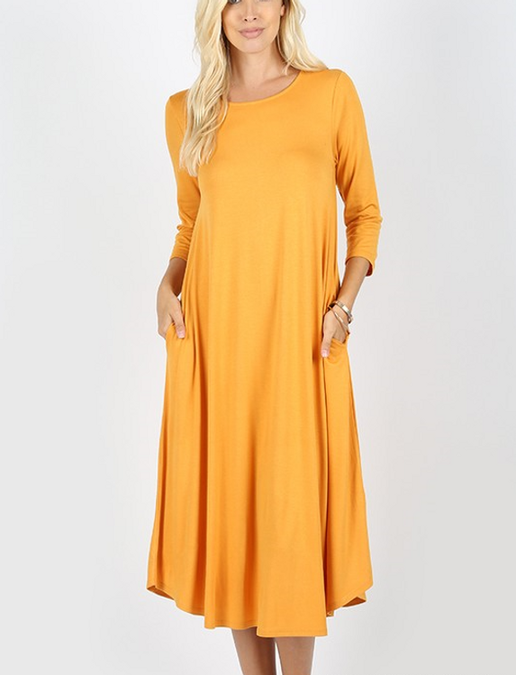 Long Sleeve T Shirt Dress Ash Mustard