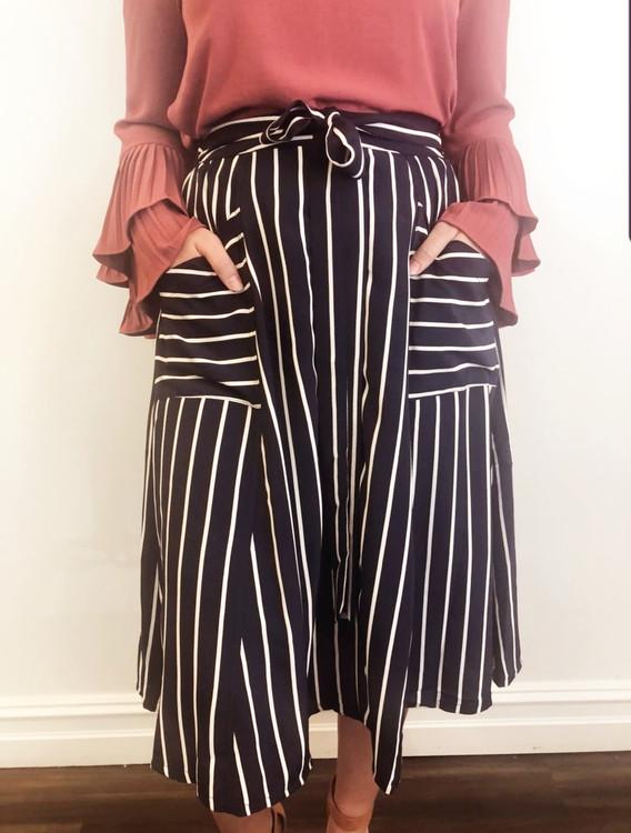 Twirling Into Fall Navy Stripe Skirt