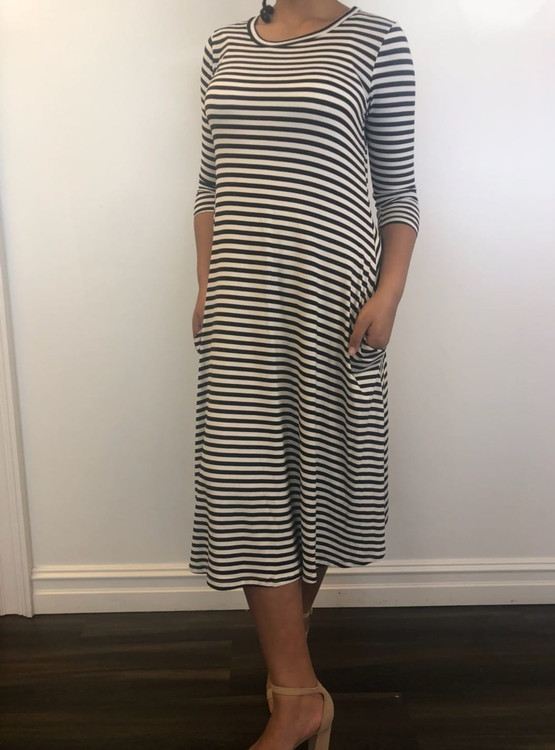 My Favorite Swing Dress Black Stripe