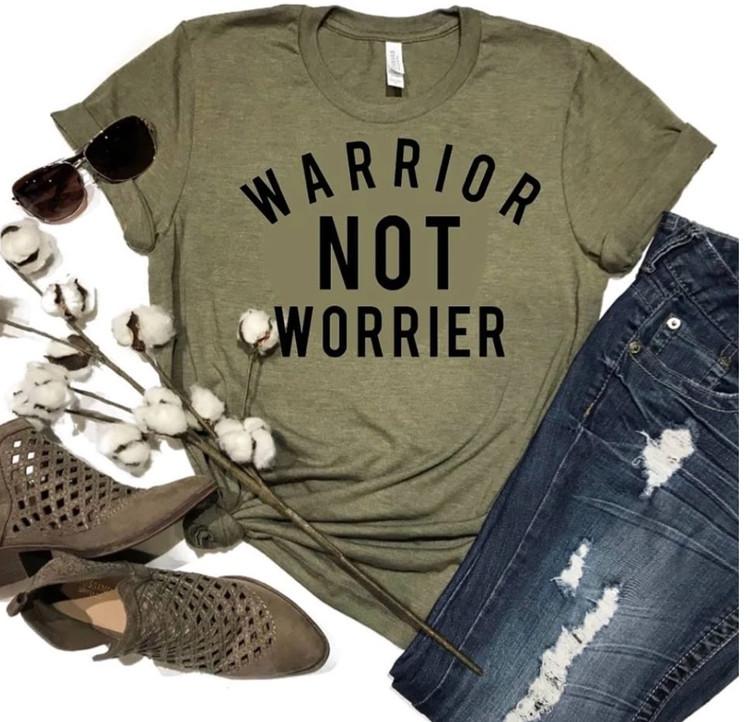 Warrior Not Worrier Olive Graphic Tee *Final Sale*