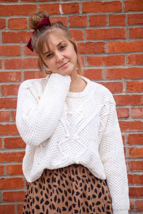 PomPom Sweater in Ivory *Final Sale*