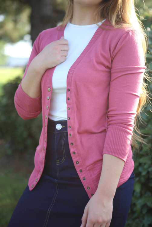 Courtney Snap Cardigan in Antique Pink