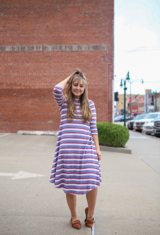 Friday Night Out Ribbed Stripe Swing Dress  Final Sale