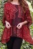 CAMILLE Oversized Silk Tunic Blouse in Maroon Floral (OS)
