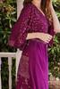 MYRA Bell Sleeve Silk Wrap Kimono Dress in Passionfruit