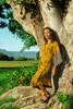 MYRA Bell Sleeve Silk Wrap Kimono Dress in Sunset Fields (One Size)