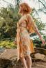 MYRA Bell Sleeve Silk Wrap Kimono Dress in Venetian Floral  (One Size)