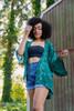 ASHKA Sequin Boho Silk Crop Kimono Shrug in Emerald Isle (One Size)