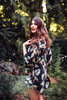 ASHKA Lovely Boho Silk Crop Kimono Shrug in Dusky Palm (One Size)