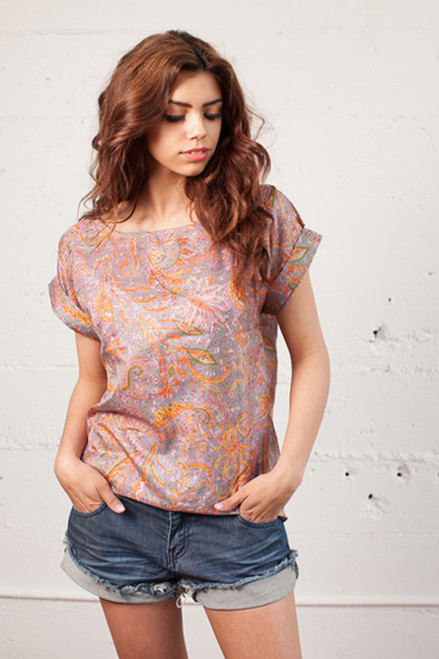 JILL Recycled Silk Top in Abundant Spring (Sm/ Med)