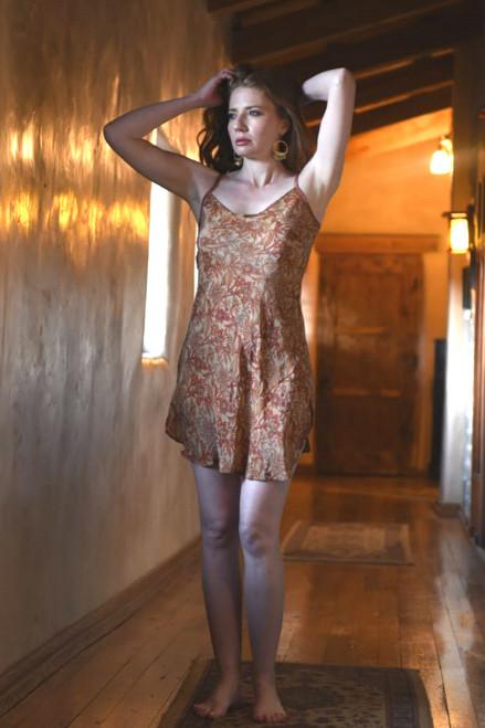 SKYLAR Bohemian Silk Slip Dress in Blooming (Med)