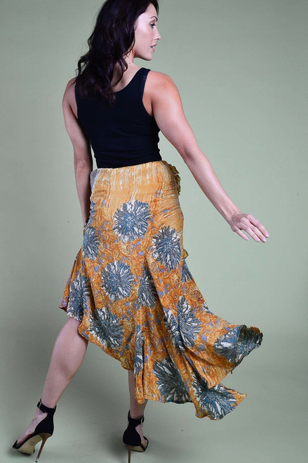 FLAMENCO Ruffle Trim Silk Dancing Skirt in Sunset (Sm/ Med)