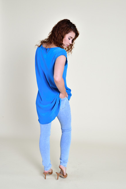 DEVON Silk Tunic Top in Periwinkle (Med/ Lg)
