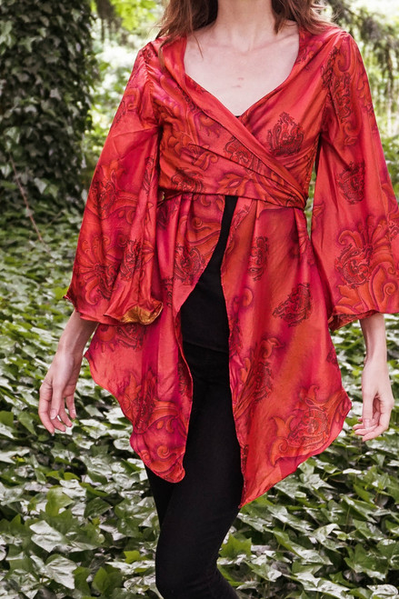 BUTTERFLY Bell Sleeve Wrap Tunic in Goddess Red (One Size)