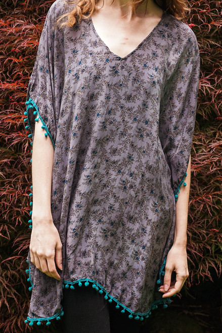 CARA Pom Pom Silk Tunic Cover Up in Tibetan Teal (One Size)