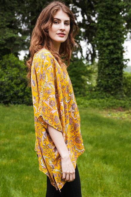 CAMILLE Oversized Silk Tunic Blouse in El Dorado (OS)