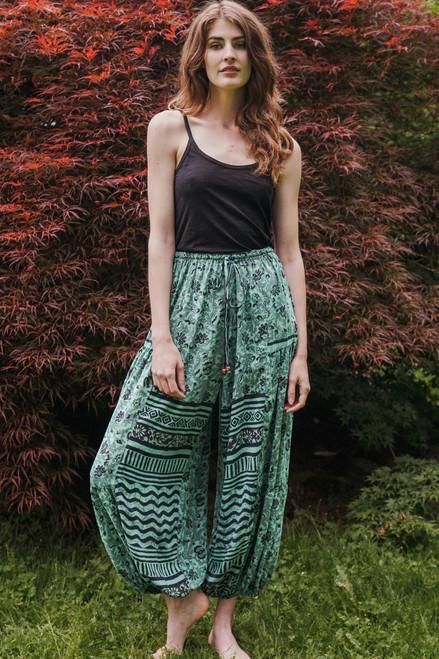 BALAREE Silk Harem Pants in Poseiden's Dreams (One Size)