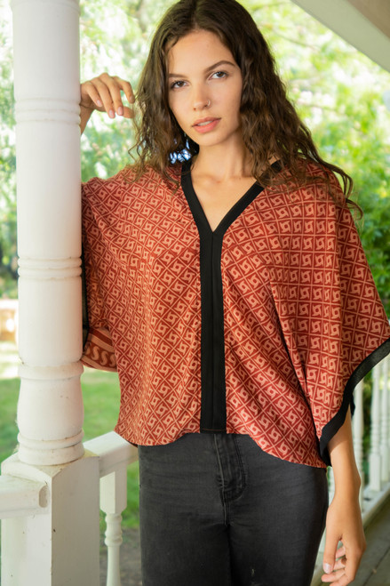 VEGA Recycled Silk V-Neck Tunic Top in Maroon (One Size)
