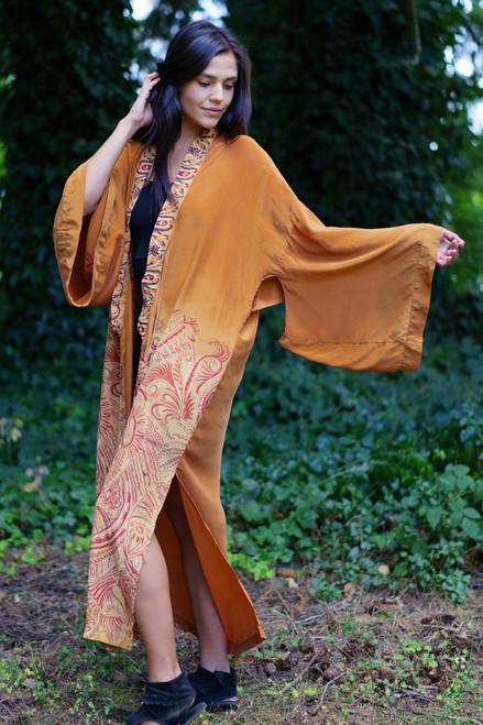 YOKO Kimono Duster in Burnt Umber Sun (onesize)