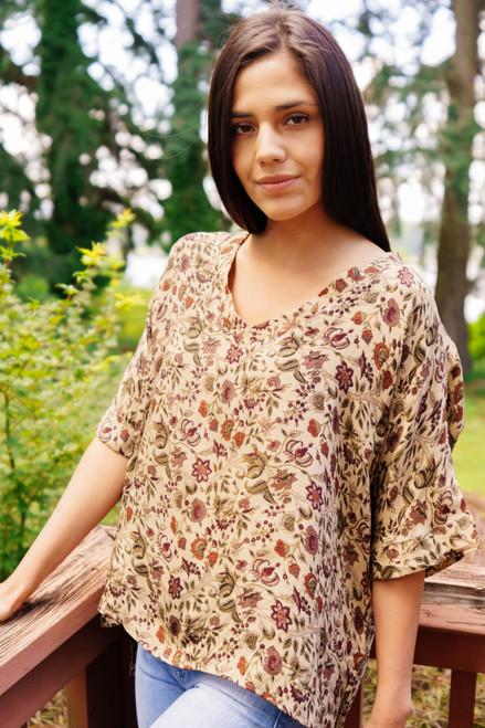 MABEL Oversize V-neck Bohemian Silk Tunic (One Size) in Harvest