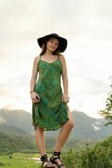 SKYLAR Bohemian Silk Slip Dress in Mossy Meadow (Large)