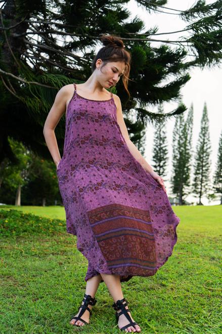 TAARA Bohemian Silk Slip Dress in Plum Drop (One Size)