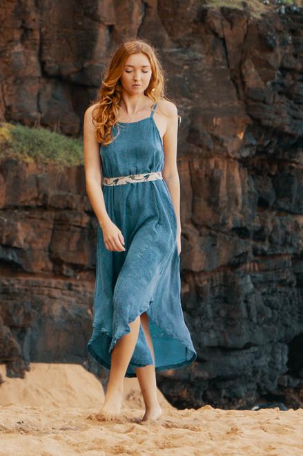 TAARA Bohemian Silk Slip Maxi Dress in Cloud Burst (One Size)