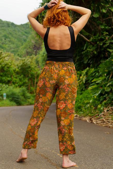 FRIDA Ankle Capri Silk Trouser Pants in Jungle Paradise (Med/Lg)