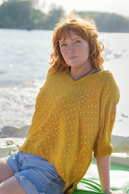MABEL Oversize Bohemian Silk Tunic Blouse in Starry Mustard (Onesize)