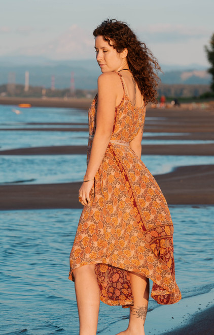 TAARA Silk Print Spaghetti Strap Maxi Dress in Marigold Sunrise