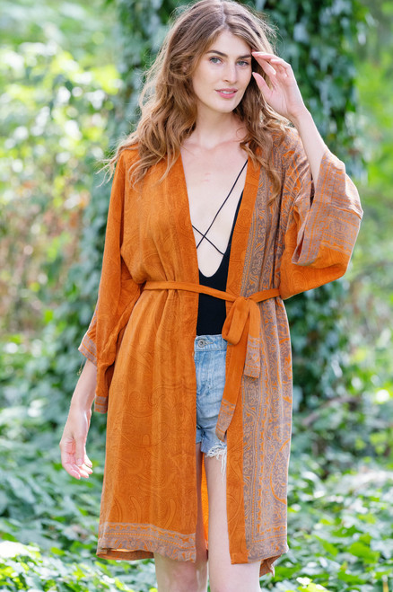 KIMONO Luxurious Printed Silk  Boho Robe in Royal Tangerine (onesize)